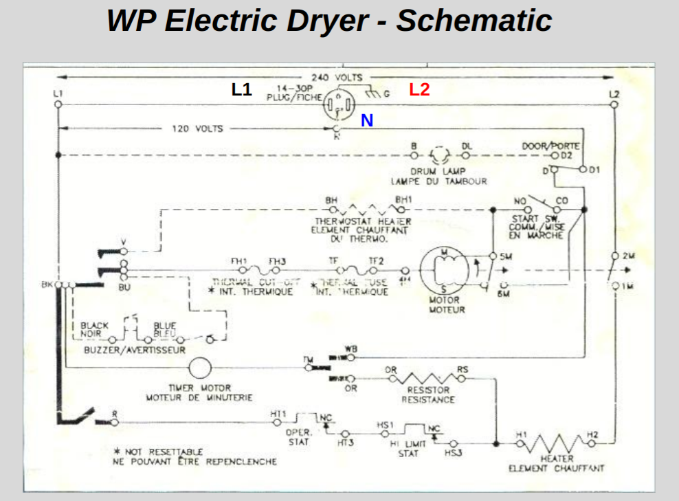 Reading Schematics - Part 1 - Whirlpool Electric Dryer Schematic Voltage  Maps and Troubleshooting. - The Tech CircuitThe Tech Circuit